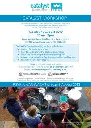 CATALYST WORKSHOP - Community Arts Network Western Australia