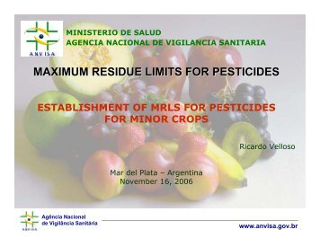 MAXIMUM RESIDUE LIMITS FOR PESTICIDES - Cclac.org