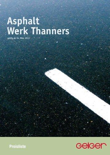 Preisliste Asphalt Werk Thanners