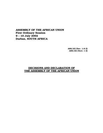 Decisions and Declarations - African Union