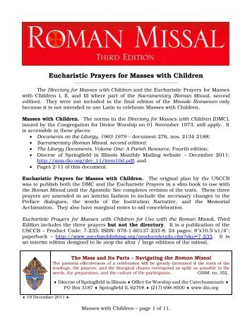 Eucharistic Prayers for Masses with Children - Monthly Mailing ...
