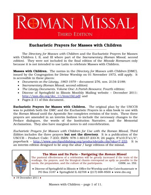 Eucharistic Prayers for Masses with Children - Monthly