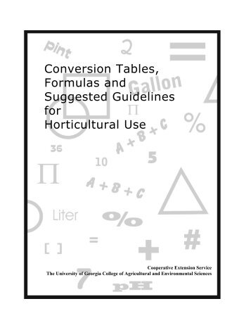 conversion tables formulas and suggested guidelines for