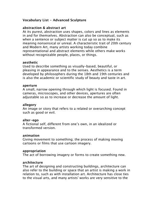 Vocabulary List Advanced Sculpture Abstraction Abstract Art At >> 26 ...