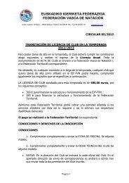 asunto :alta del club en la temporada - Federación Vasca de Natación.