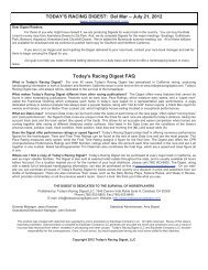 TODAY'S RACING DIGEST - Del Mar Thoroughbred Club