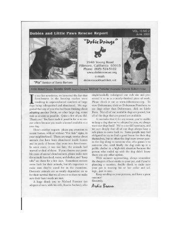 """Pia"" Sekban of Santa Barbara - Dobies and Little Paws Rescue"