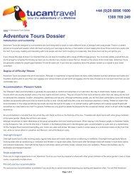 Adventure Tours Dossier - Tour Packages NATAS Travel Agents