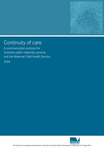 Continuity of care: A communication protocol for Victorian public
