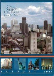 Dix-neuvième rapport de gestion - 1984 - Caisse de dépôt et ...