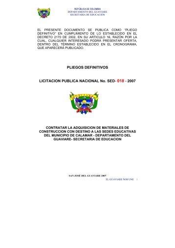 PLIEGOS DEFINITIVOS LICITACION PUBLICA NACIONAL No. SED ...