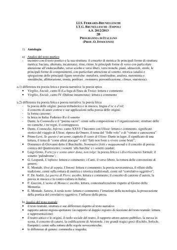 (PROF. O. I 1) Antologia a) Analisi del testo poetico - IIS G.Ferraris-F ...