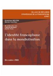 L'identité francophone dans la mondialisation - Organisation ...