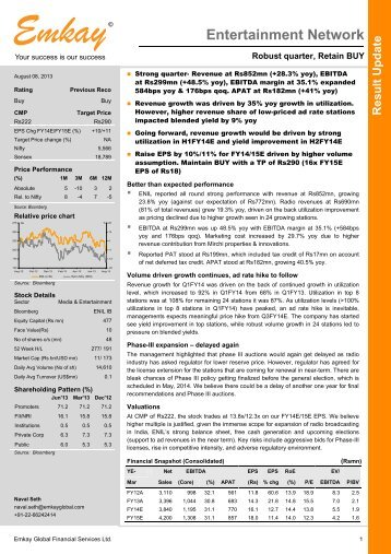 ENIL Q1FY14 Result Update - Emkay Global Financial Services Ltd.
