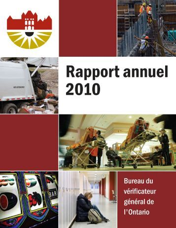Rapport annuel 2010 du Bureau du vérificateur général de l'Ontario