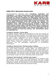 KARE Design Pressemitteilung - Shamless living trends 2012