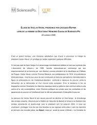 Eloge de Vaclav Havel - Spire - Sciences Po