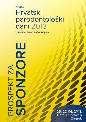 Prospekt za sponzore - Kongres Hrvatski parodontološki dani 2013