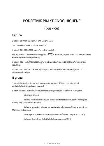 PODSETNIK PRAKTICNOG HIGIJENE (puskice) - Beli Mantil