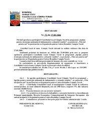 HOTARARE Nr. 72 din 27.09.2004 HOTARASTE: - Municipiul ...