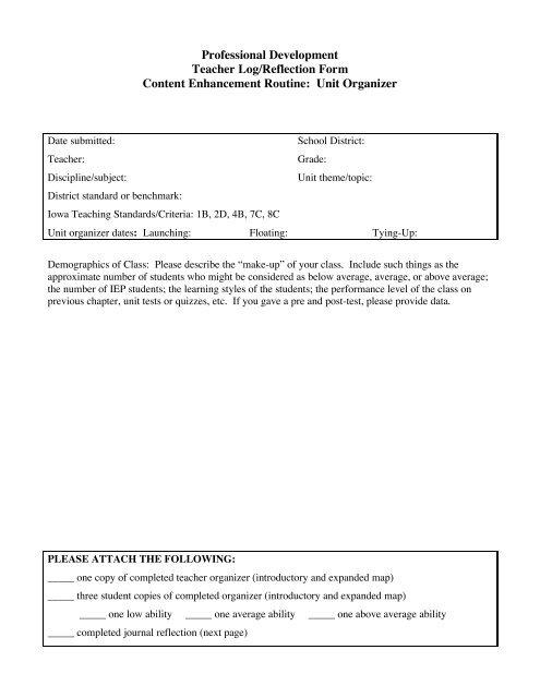 Professional Development Teacher Log/Reflection Form Content