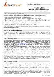 Forfait Pro/PME Europe et Amérique du Nord - Orange mobile