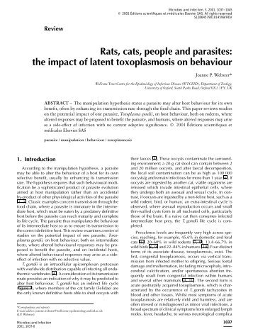 Rats, cats, people and parasites: the impact of latent toxoplasmosis ...