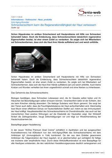 Schneckenschleim kann die Regenerationsfähigkeit ... - Senio-Web