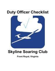 Duty Officer Checklist Skyline Soaring Club