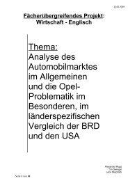 Thema: Analyse des Automobilmarktes im Allgemeinen ... - Westensee