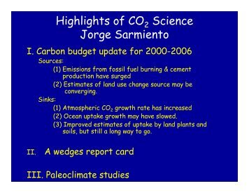 Highlights of CO 2 Science - Carbon Mitigation Initiative