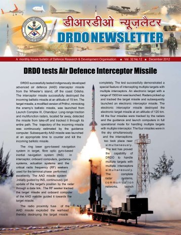 Vol. 32, Issue 12, December 2012 - DRDO