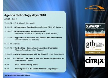 Agenda technology days 2010 - ND SatCom