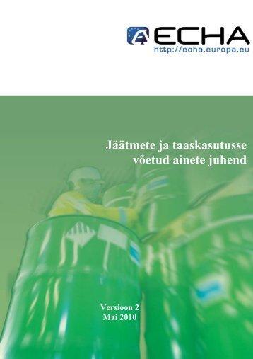 Jäätmete ja taaskasutusse võetud ainete juhend - Terviseamet