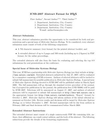 ICSB-2007: Abstract Instructions and Sample Template