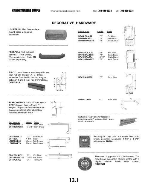 download our DECORATIVE HARDWARE catalog - Cabinetmakers