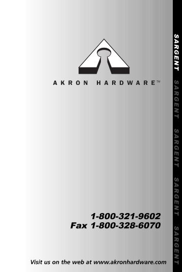Akron Hardware Product Catalog Version 3.0