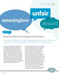 Does the Author of Ecclesiastes Need Prozac? - Bible Study Magazine