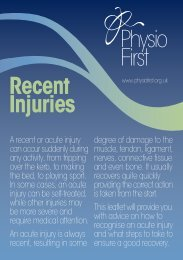 Recent Injuries Information Leaflet - Blairgowrie Physiotherapy