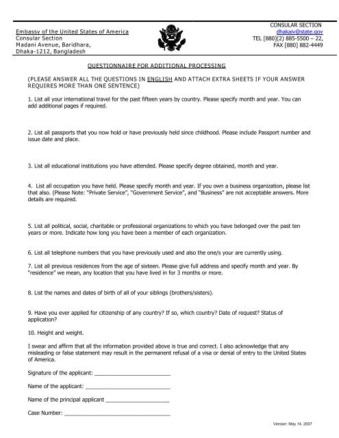 Additional Questionnaire Form for IV - Embassy of the United States