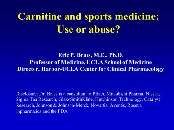 NIH-Carnitine and sports medicine: Use or abuse?