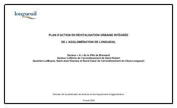 Plan d'action en revitalisation urbaine intégrée - Ville de Longueuil