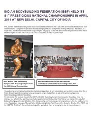 INDIAN BODYBUILDING FEDERATION (IBBF) HELD ITS 51 ... - ABBF