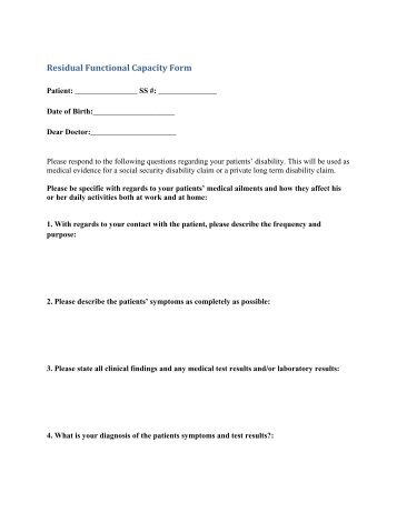 physical residual functional capacity assessment - FM/CFS/ME ...