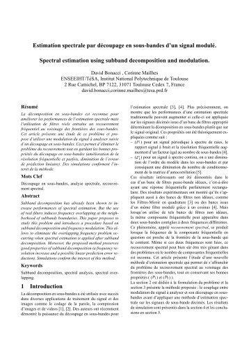 Estimation spectrale par découpage en sous-bandes d'un signal ...