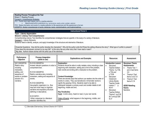 Reading Lesson Planning Guide Literary First Grade