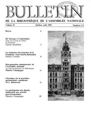 Vol. 23, nos 2-3, août - Bibliothèque - Assemblée nationale du Québec