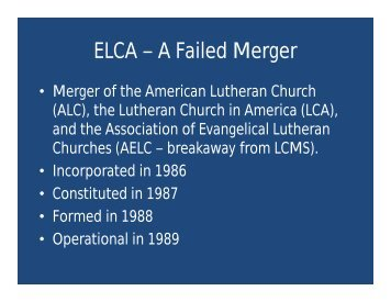 ELCA – A Failed Merger - CCM Verax
