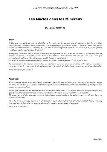 Les Principales Macles - Page perso minéraux Alain ABREAL ...