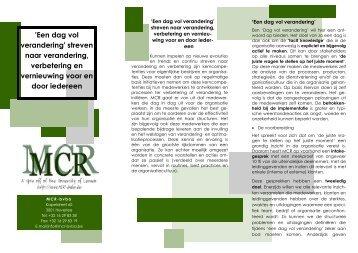 Brochure: Een dag vol verandering - Mcr Bvba